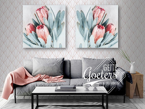 Set of 2 Pastel Protea Light pink