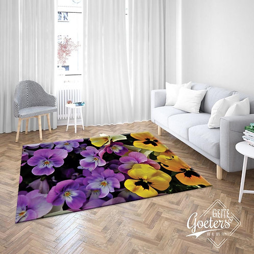 Flowers purple and yellow rug