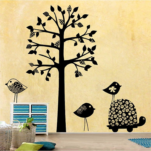 Polka dot tree, birds & tortoise