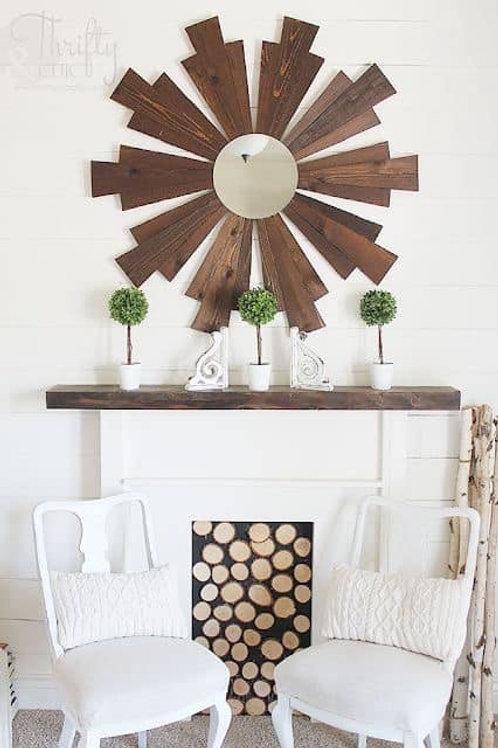 Wood Windmill Mirror
