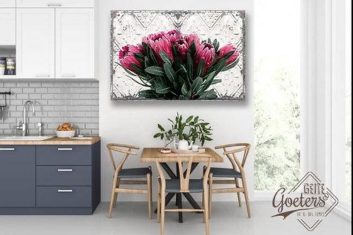 Steel/Wood Regular Protea Pink Bunch
