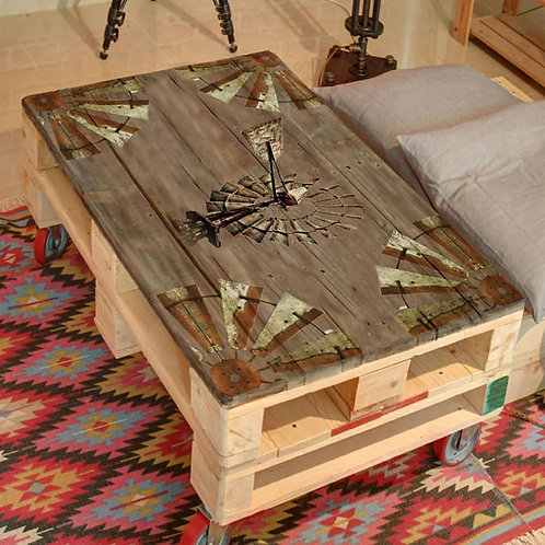 Windmill Printed Pallet Coffee Table