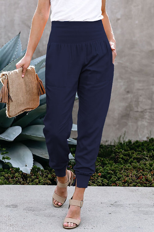 Blue Pocketed Casual Joggers