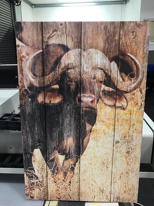 Bull on wood