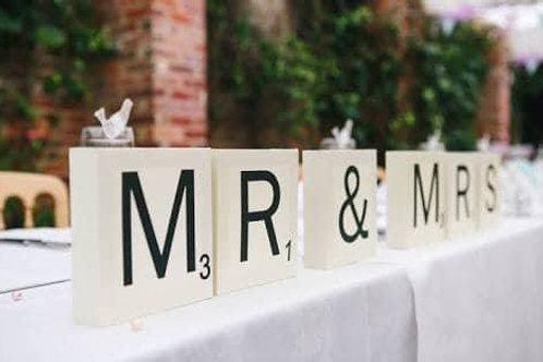 Wedding Scrabble letters each 10cm
