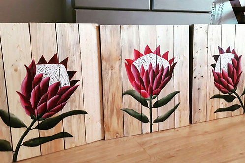 550mm x 600mm Large Protea trio Dark Pink