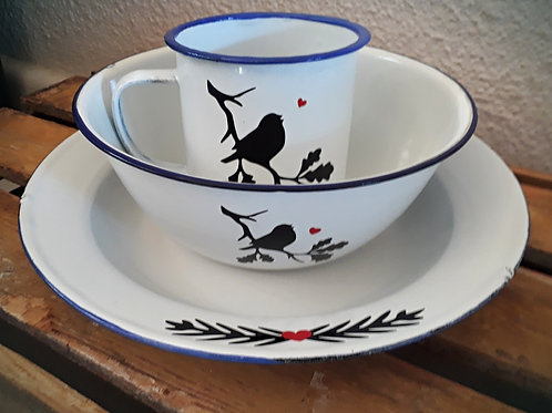 Love Bird Set - Cup, Bowl, Plate