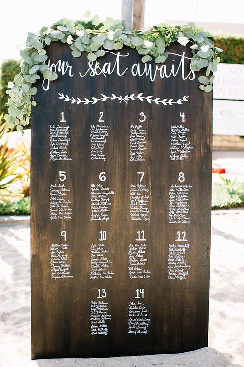 A3 Wedding Seating on wood