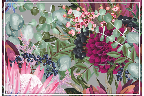 Vinyl Placemats - Set of 4 - Protea and Berries