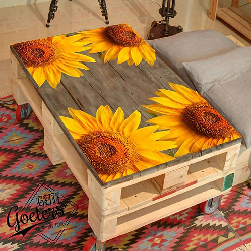Sunflower Printed Pallet Coffee Table
