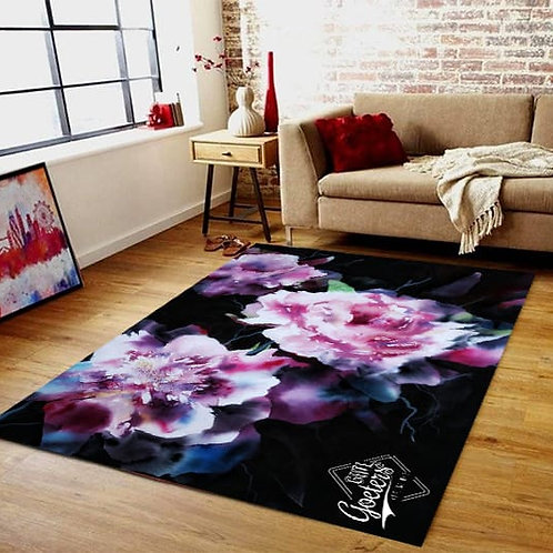 Vinyl Mat (non slip 4mm thick): Black and Pink Floral