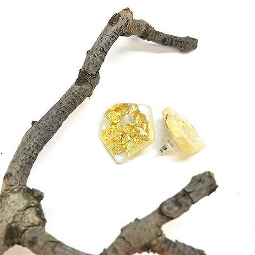 Organic Stud Earings Gold