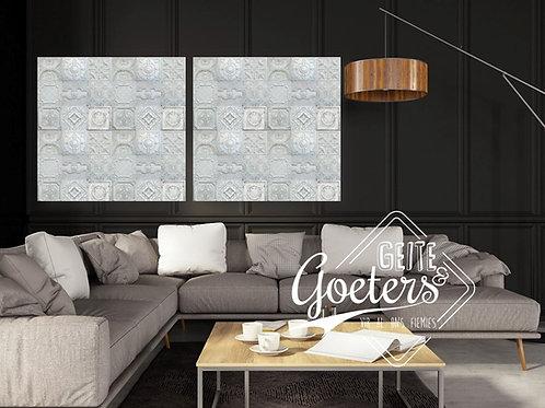 2021 Steel/Wood White Pattern Square - Set of 2