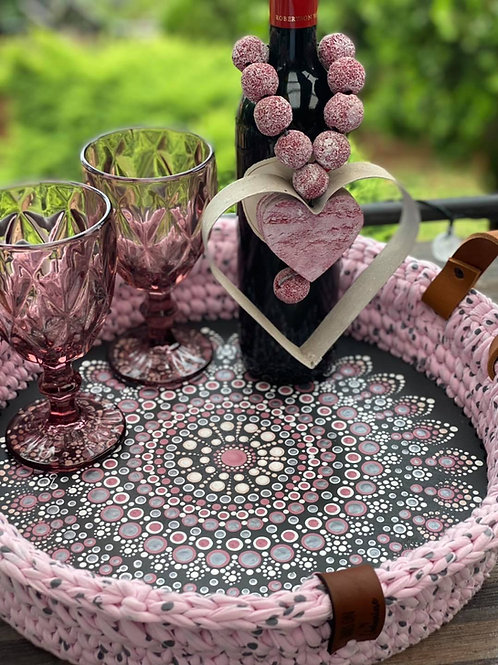 Hand painted Crochet Basket Round