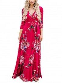 Stretchable Red Deep V Neck Maxi Wrap Dress Fashion Insider