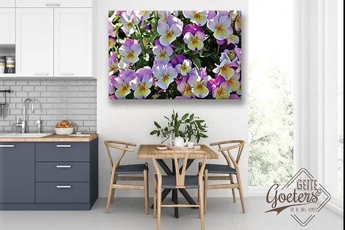 Steel/Wood Purple Flowers