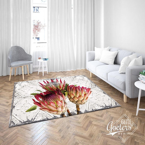 Protea trio pressed steel rug