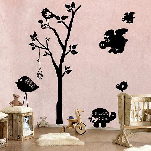 Whimsical Tree & Flying Pig