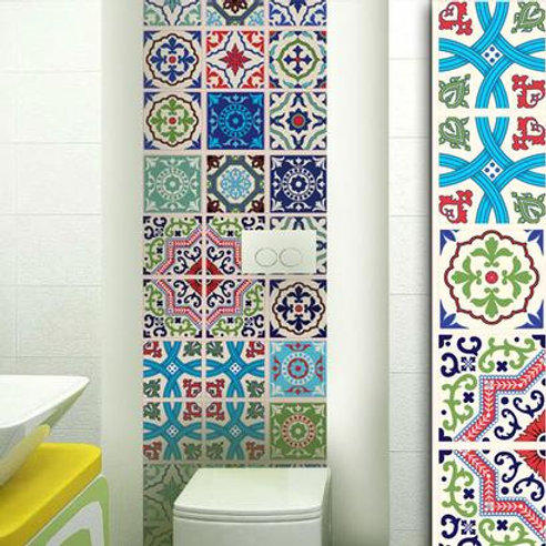 Set of 12 Vinyl Tiles - Moroccan Colour