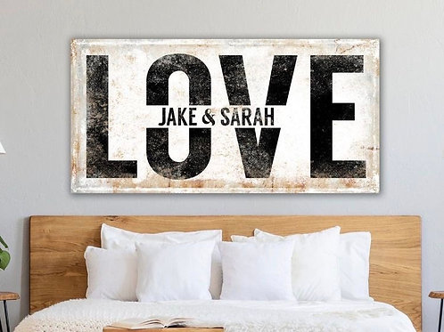 BF Steel/Wood Rustic White Love Family names  Print (A1)