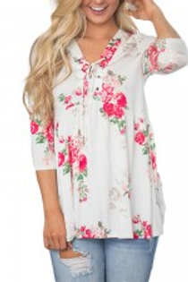 Relax Fit Lace Up Front Floral Ruffle V Neck Blouse