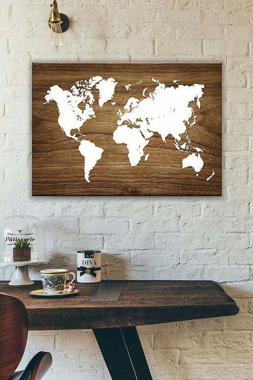 A0 world map wood