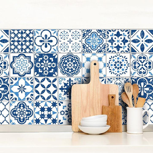 Set of Vinyl Tiles - Mediterranean Blue