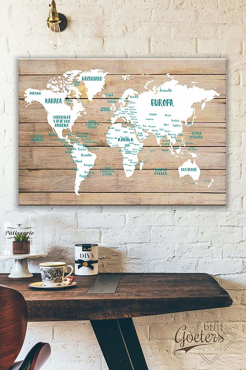 A1 world map wood & Countries