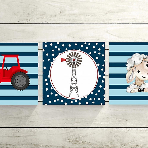 2020 Blue Windmill wood print