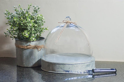 GLASS DOME AND CHEESE TRAY
