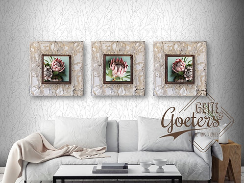Square Set of 3 with Steel Frame: Green Trio and Leaves