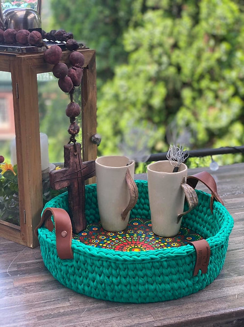 Hand painted Crochet Basket Oval