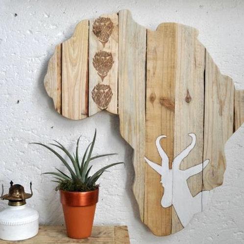 LARGE Afrika Muur Kuns White/Pine