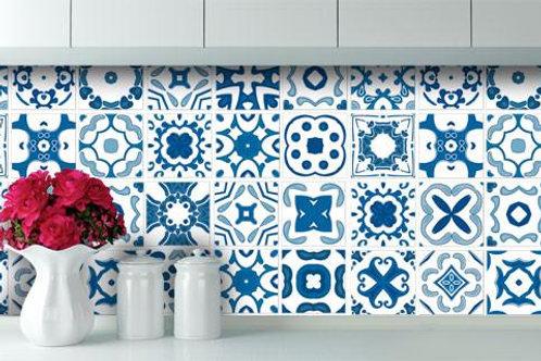 Set of Vinyl Tiles - Delft - Antique Blue Vinyl tiles