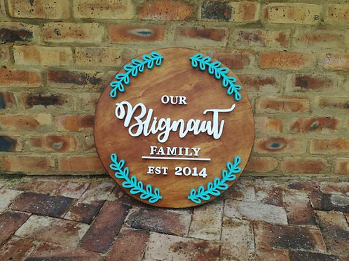 40cm wood famliy or baby name plaque