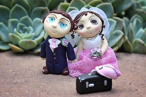 Clay Bride and Groom +2 animal/person Cake topper