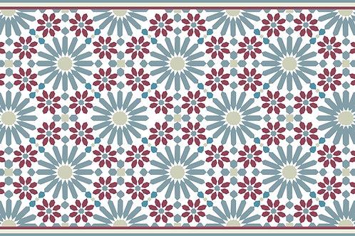 Maroon and Teal blocks rug