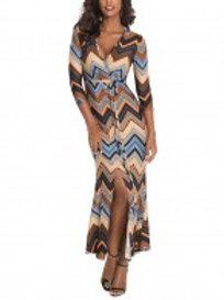 Brown Striped Print V Collar 3/4 Sleeve Mermaid Dress For Female Sale Online