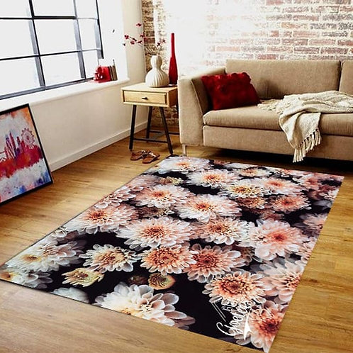 Red and white floral Rug