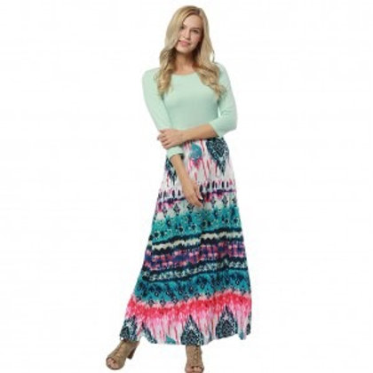 Geometrical Pattern Round Neck High Waist Maxi Dress