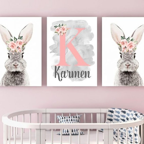 2020 Bunny with name wood print
