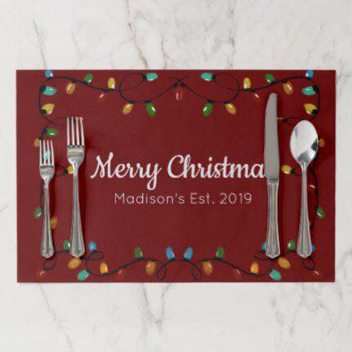 Christmas Placemats set of 6 Dark red