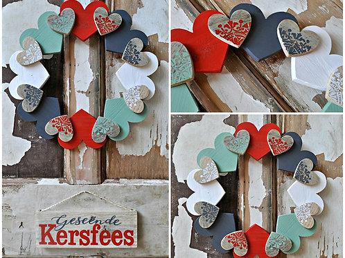 Hout Kersfees Hart/Wooden Christmas Heart DOOR WREATH