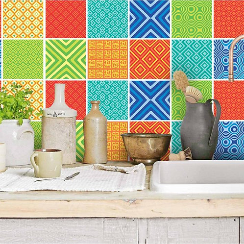 Set of  Vinyl Tiles - African Mix - Colour
