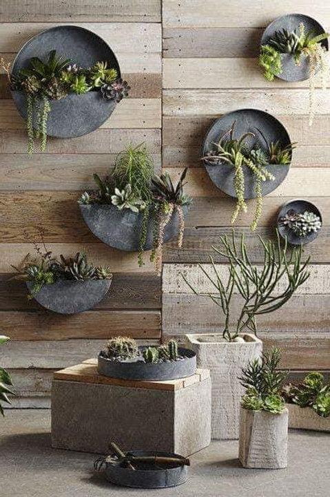 Round Galvanised Planters