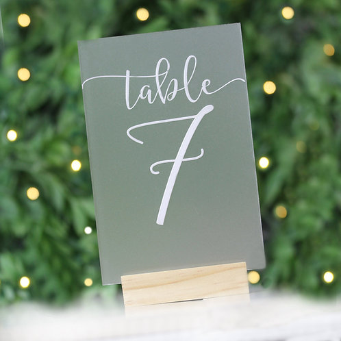 Frosted Perspex table numbers