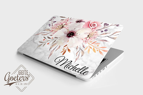 Laptop Skins: White and pink floral
