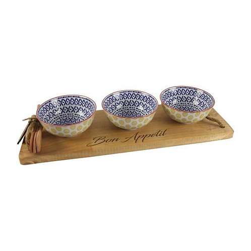 Bon Appetit Engraved Wooden Tray with 3 Bowls