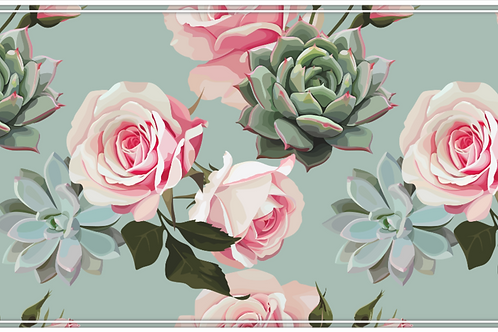 copy of Succulents and Roses - Mint Table Runner