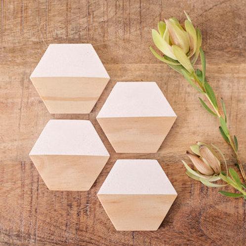 Hexagonal Drinks Coasters - set  of 4